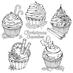 Group of vector illustrations on the Christmas sweets theme; set of different kinds of cupcakes decorated with Christmas candies, fruits and nuts. Pictures are depicted as dark sketches.