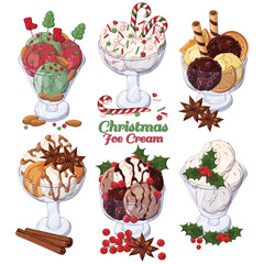 Group of vector colorful illustrations on the Christmas sweets theme; set of different kinds of ice-cream in bowls decorated with Christmas candies, fruits and nuts.