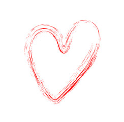 Vector heart with a dry brush. Hand drawn grunge hearts. Love symbol . Valentine day. grunge illustration