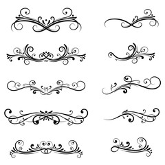 Dividers. Filigree floral decorations isolated on white background