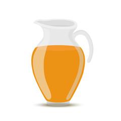 Vector orange juice in transparent glass jar, jug