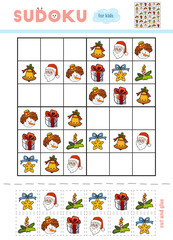 Sudoku for children, education game. Set of Christmas items
