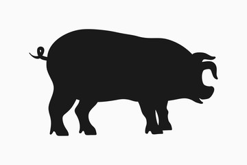 Pig icon. Silhouette of pig isolated on white background. Vector illustration.