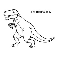 Coloring book for children, cartoon Tyrannosaurus
