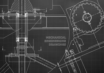 Engineering backgrounds. Technical. Mechanical engineering drawings. Blueprints. Black. Grid