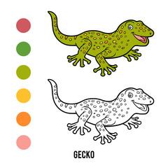 Coloring book, Gecko