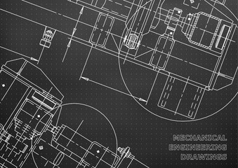 Mechanical Engineering drawing. Blueprints. Mechanics. Cover, background. Black. Points
