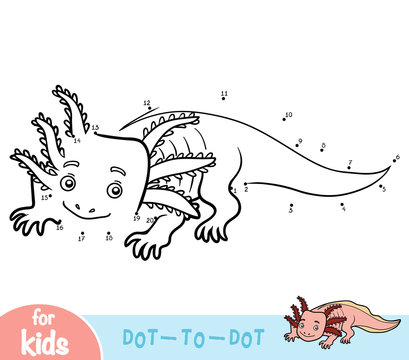 Numbers game, education game for children, Axolotl