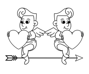 Cupids with hearts and arrow in black and white