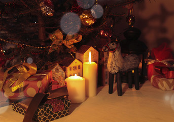 A New Year and Christmas background with decorated Tree, wooden toy houses, toy deer,wooden bird ,toy sledge,lantern, candles, gifts with ribbons