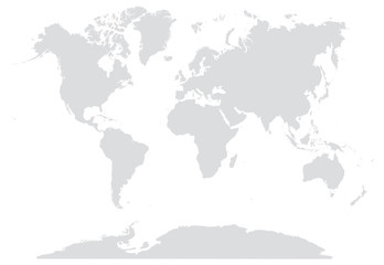 Foto auf AluDibond Weltkarte 15% GRAY WORLD MAP EDITABLE