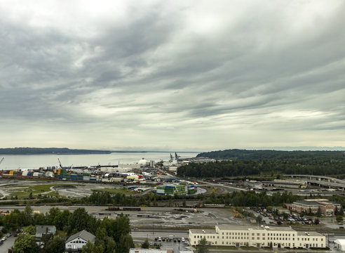 Port of Alaska, deep water port, shipyard and railway on an overcast summer day, Anchorage, AK, USA.
