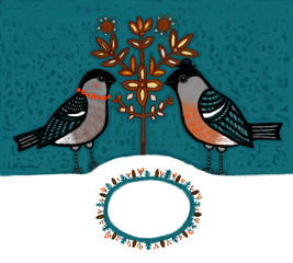 a New Year and Christmas card /  two bullfinches and  a snowflake tree on the night sky background with  inscription