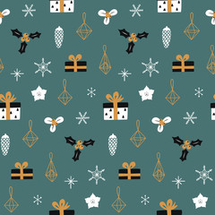 Hand drawn decorative christmas seamless pattern. Modern design for wrapping paper, cover, fabric and other users. Vector wallpaper.