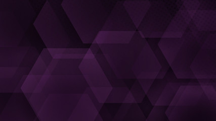 Abstract background of hexagons and halftone dots in dark purple colors
