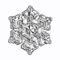 Snowflake isolated on white background. This vector illustration based on macro photo of real snow crystal: elegant star plate with six short, broad arms, relief surface and complex inner structure.