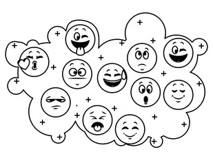 Set of chat emoticons in black and white