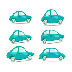 Set of cartoon cars on different shapes