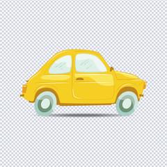 Illustration of yellow vector cartoon car