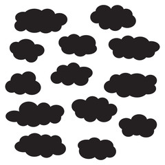 Cloud icon set, black isolated on white background, vector illustration.