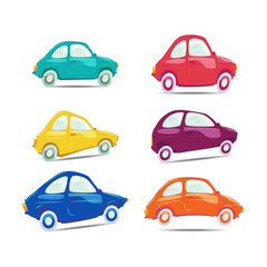 Set of funny and different colored vector cars