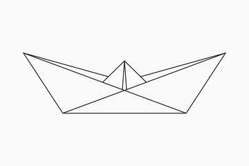 Origami boat. Geometric line shape for art of folded paper. Ship in origami style. Vector illustration.