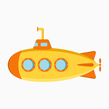 Submarine. Underwater boat with periscope. Vector illustration.