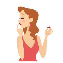 Woman putting red lipstick on her lips