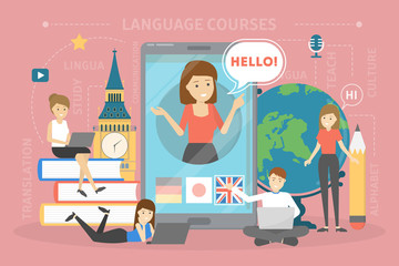 Language courses concept. Study foreign languages in school