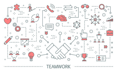 Teamwork concept. Idea of business people working together