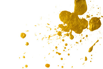 drops of gold paint. blot with a splash of metallic shiny color.