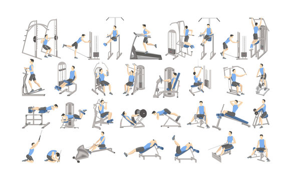 Set of workout for men on exercise machines.