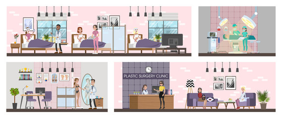 Plastic surgery clinic interior with surgery, rooms and reception