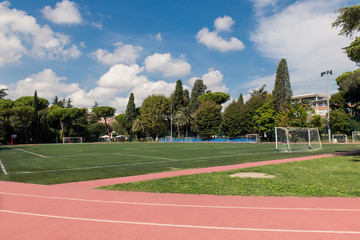 Football field wide shot in green park