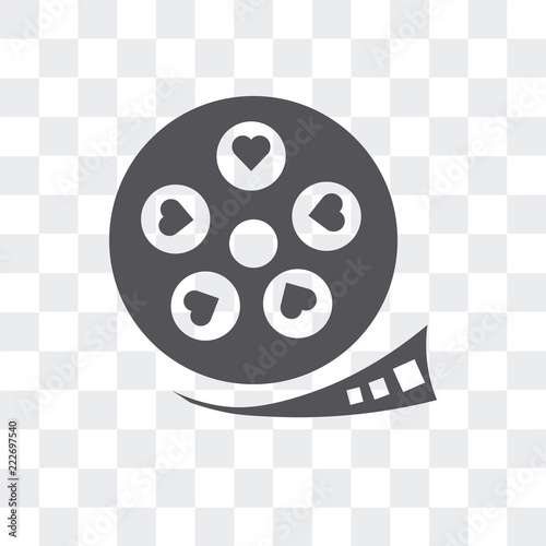 film strip with heart icon isolated on transparent