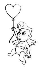 Cupid with heart shaped balloon sketch