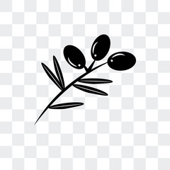 olives on a branch icon isolated on transparent background. Modern and editable olives on a branch icon. Simple icons vector illustration.