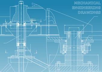 Mechanical engineering. Technical illustration. Backgrounds of engineering subjects. Technical design. Instrument making. Cover, banner, flyer, background. Blue and white