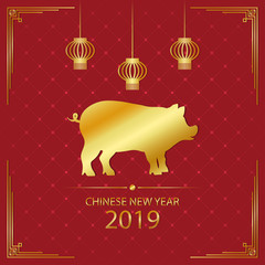 2019 Chinese New Year illustration with gold pig and golden hanging lanterns. Year of the pig - holiday card on red background. Vector.