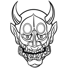 hand drawn vector illustration of a Japanese mask in black and white with horns from the front with roll in the mouth. Tattoo template isolated