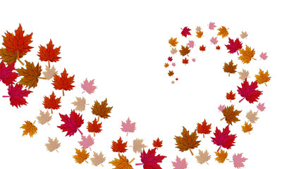 a vortex of autumn leaves