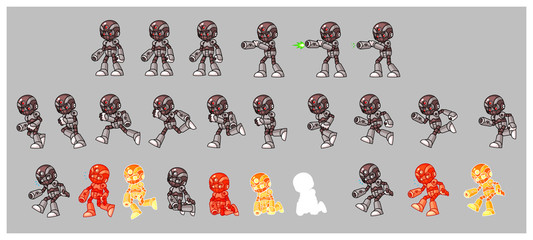 Grey Cyborg Enemy Shooter Game Sprites