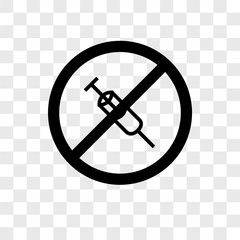 no drugs icons isolated on transparent background. Modern and editable no drugs icon. Simple icon vector illustration.