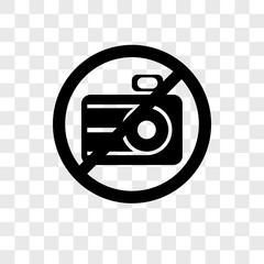no camera icons isolated on transparent background. Modern and editable no camera icon. Simple icon vector illustration.