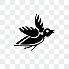 bird icon isolated on transparent background. Modern and editable bird icon. Simple icons vector illustration.