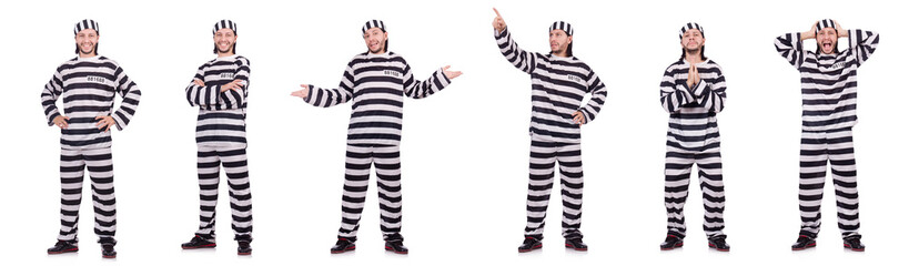 Convict criminal in striped uniform isolated on white