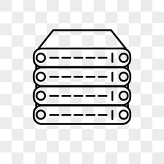 server icon isolated on transparent background. Modern and editable server icon. Simple icons vector illustration.