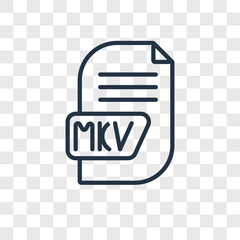 mkv icons isolated on transparent background. Modern and editable mkv icon. Simple icon vector illustration.