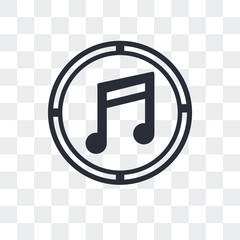 musical note icon isolated on transparent background. Modern and editable musical note icon. Simple icons vector illustration.
