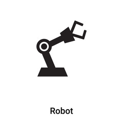 Robot icon vector isolated on white background, logo concept of Robot sign on transparent background, black filled symbol